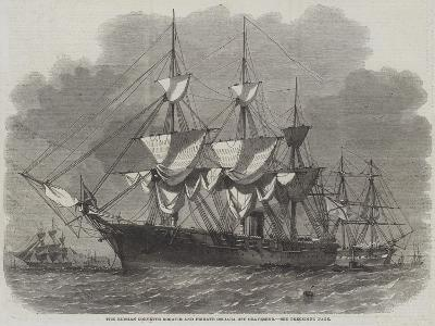 The Russian Corvette Bogatir and Frigate Osliaba Off Gravesend-Edwin Weedon-Giclee Print