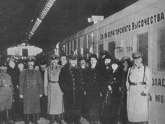'The Russian Minister of War inspecting a Red Cross train leaving for the front', 1915-Unknown-Photographic Print