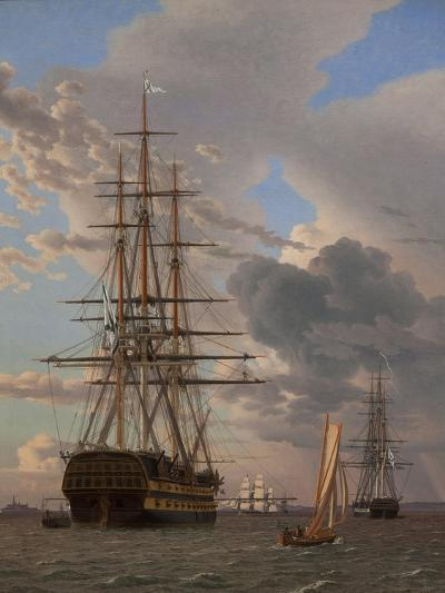 The Russian Ship of the Line Azov and a Frigate at Anchor in the Roads of Elsinore, 1828-Christoffer-wilhelm Eckersberg-Giclee Print