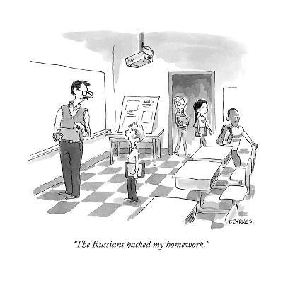 """The Russians hacked my homework."" - Cartoon-Pat Byrnes-Premium Giclee Print"