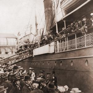 The S.S. Angelo Leaving Oslo, Norway, with Emigrants for America, Ca. 1905