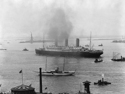 The S.S. Imperator in New York Harbor-A^ Loeffler-Photographic Print