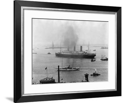 The S.S. Imperator in New York Harbor-A. Loeffler-Framed Photographic Print