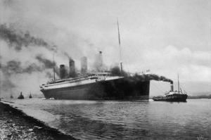 The S S Titanic Leaving Bairds Works Belfast