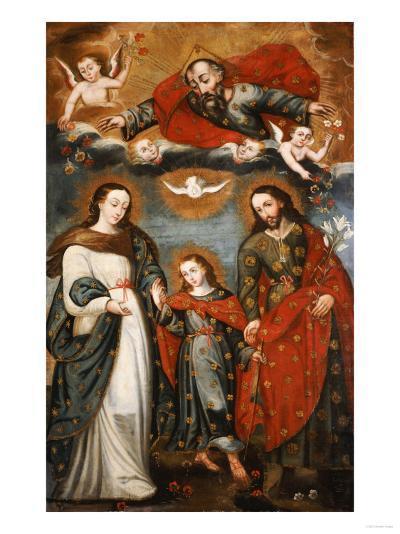 The Sacred Family, Anonymous, Cuzco School, 18th Century-Jose Agustin Arrieta-Giclee Print