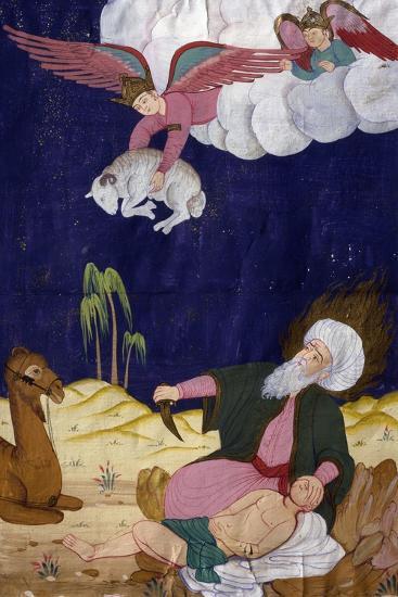 The Sacrifice of Isaac, Ottoman Miniature, Manuscript, Turkey, 16th Century--Giclee Print
