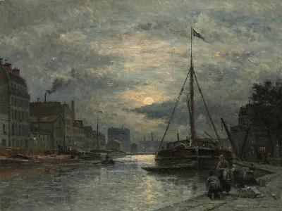 The Saint-Martin Canal at Moonlight; Le Canal Saint-Martin Au Clair De Lune-Stanislas Victor Edouard Lepine-Giclee Print