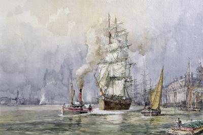 The 'Salamis' Passing Greenwich-John Sutton-Giclee Print