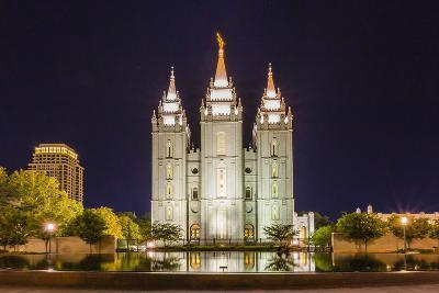 The Salt Lake Temple at Night-Michael Nolan-Photographic Print