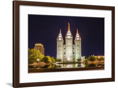 The Salt Lake Temple at Night-Michael Nolan-Framed Photographic Print