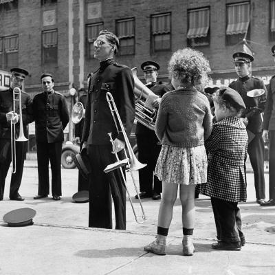 The Salvation Army Band Playing Their Instruments on the City Street-Bernard Hoffman-Photographic Print
