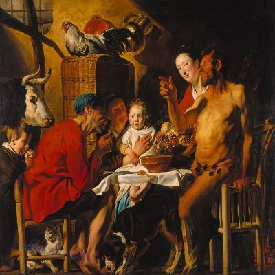 The Satyr with the Peasants. after 1620-Jacob Jordaens-Giclee Print
