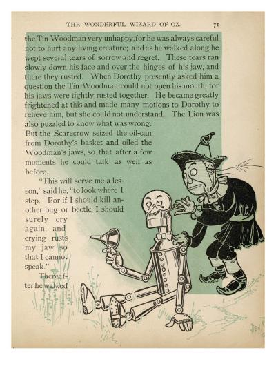 The Scarecrow Oils the Tin Woodman's Jaws after His Tears Cause Them to Rust--Giclee Print