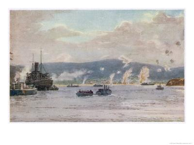 """The Scene at 5.30 A.M. on """"A"""" Beach Suvla Bay-Norman Wilkinson-Giclee Print"""