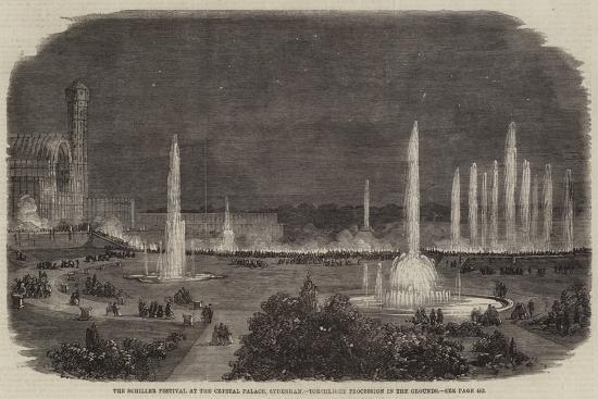 The Schiller Festival at the Crystal Palace, Sydenham, Torchlight Procession in the Grounds--Giclee Print