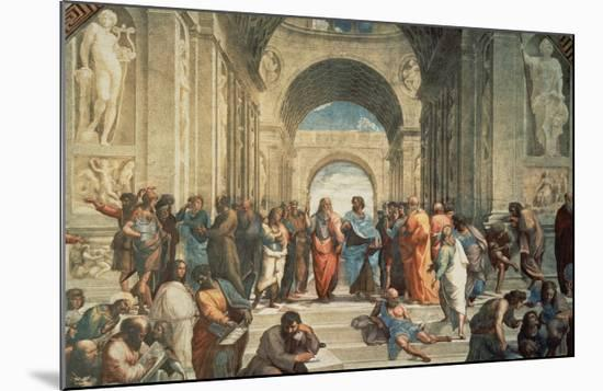 The School of Athens, c.1511 (detail)-Raphael-Mounted Print
