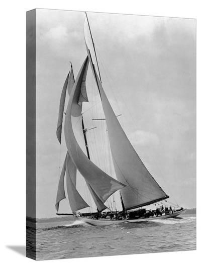 The Schooner Half Moon at Sail, 1910s-Edwin Levick-Stretched Canvas Print