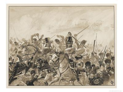 The Scots Greys and the 92nd Regiment in Action-J. Marshman-Giclee Print