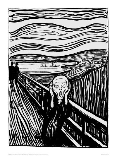 The Scream (Black and White)-Edvard Munch-Giclee Print