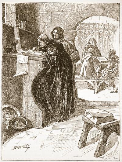 The Scriptorium of a Monastery-Claude Allinson Shepperson-Giclee Print