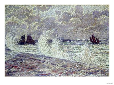 The Sea During Equinox, Boulogne-Sur-Mer, 1900-Eug?ne Boudin-Giclee Print