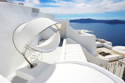 The Sea View Hammock at Luxury Hotel, Santorini Island, Greece-slava296-Photographic Print