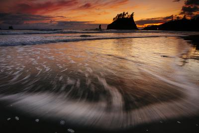 The Seastacks Along Second Beach Are Silhouetted At Sunset In Olympic National Park, Washington-Jay Goodrich-Photographic Print