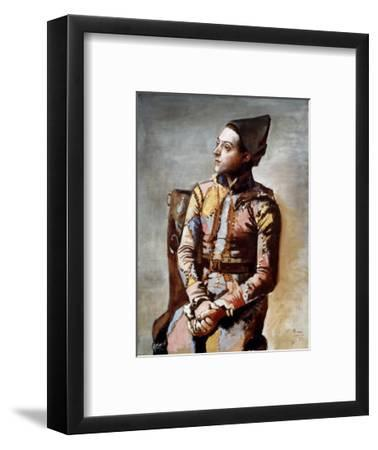 The Seated Harlequin, 1923-Pablo Picasso-Framed Art Print