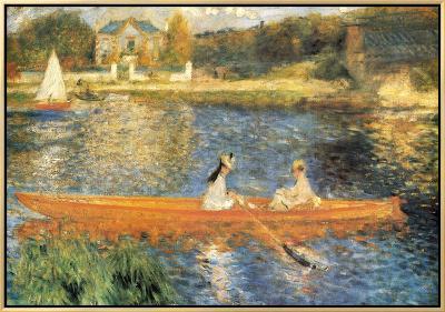 The Seine at Asnieres-Pierre-Auguste Renoir-Framed Canvas Print
