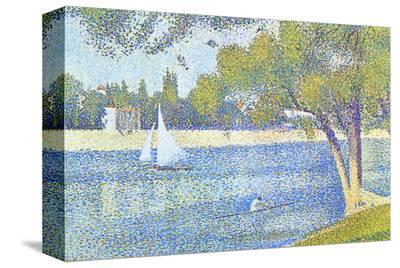 The Seine by the Island of Jatte in Spring-Georges Seurat-Stretched Canvas Print