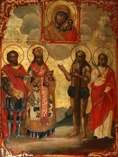The Selected Saints before the Icon of Our Lady of Kazan, Late 18th Cent.-Evfimy Denisov-Giclee Print