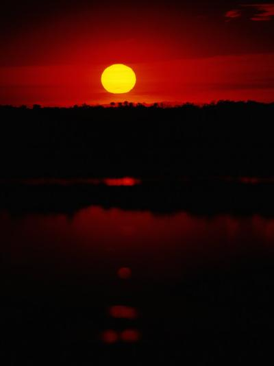 The Setting Sun Creates Reflections on the Waters of Big Cypress Swamp-Raymond Gehman-Photographic Print