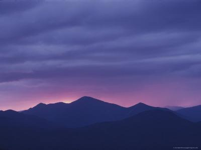The Setting Sun Drops Behind the Adirondack's Mount Marcy-Michael Melford-Photographic Print