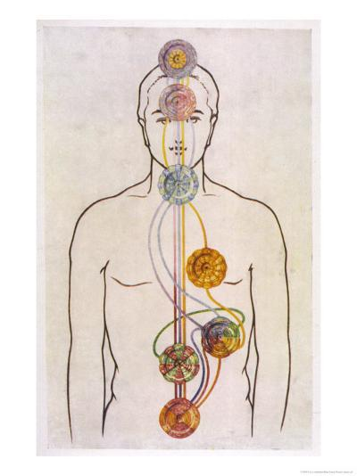 The Seven Chakras and the Streams of Vitality-C.w. Leadbeater-Giclee Print