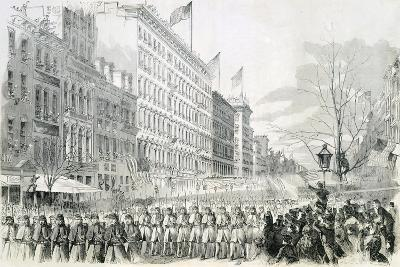 The Seventh Regiment Leaving for the Front Crossing Broadway in New York from Harper's Weekly--Giclee Print