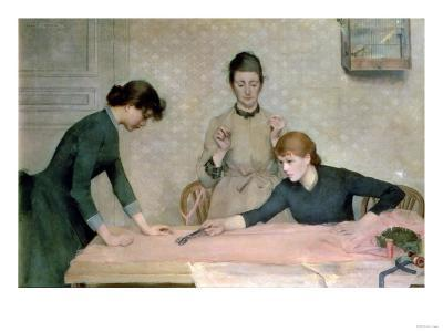 The Sewing Class-Carl Frederic Aagaard-Giclee Print