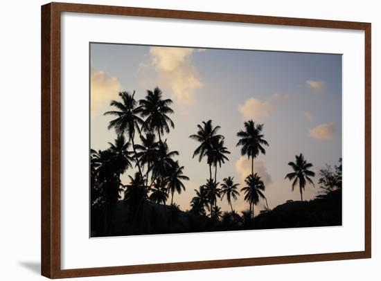 The Seychelles, La Digue, Beach, Palms, Grand' Anse, Dusk-Catharina Lux-Framed Photographic Print