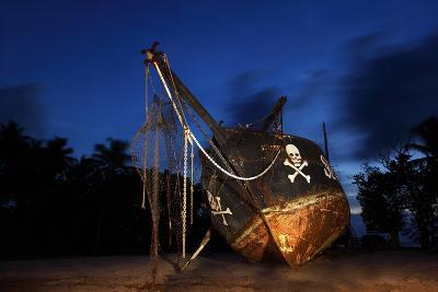 The Seychelles, La Digue, Union Estate, Old Shipyard, Pirate Ship, Evening-Catharina Lux-Photographic Print