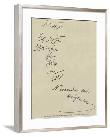 The Shah's Signature in the Visitors' Book at Haworth's Mills, Manchester--Framed Giclee Print