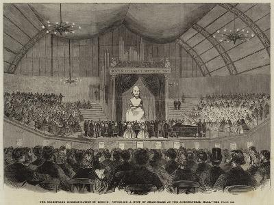 The Shakespeare Commemoration in London, Unveiling a Bust of Shakespeare at the Agricultural Hall--Giclee Print