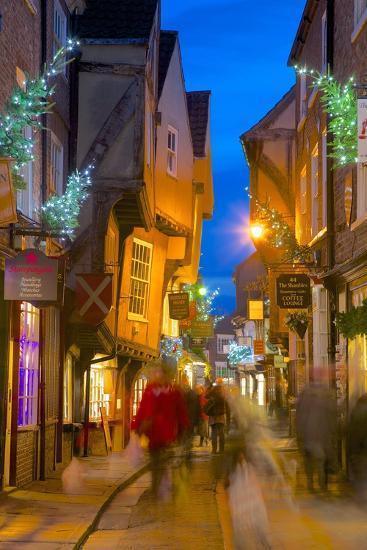 The Shambles at Christmas, York, Yorkshire, England, United Kingdom, Europe-Frank Fell-Photographic Print