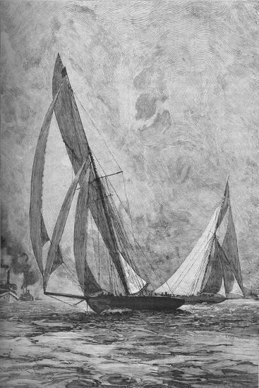 The 'Shamrock' and the 'Columbia' racing for the America's Cup, 1899 (1906)-Unknown-Giclee Print