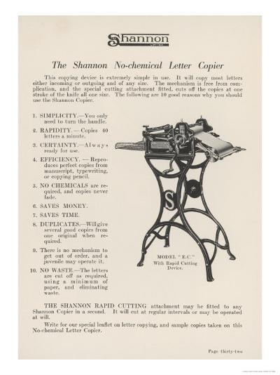 The Shannon No-Chemical Letter Copier Copies at the Fantastic Rate of Forty Letters a Minute--Giclee Print