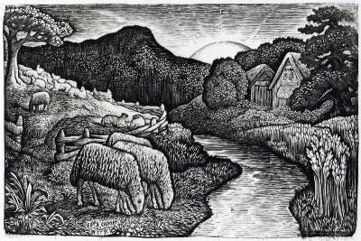 The Sheep of His Pasture, C.1828, from an Edition of 350 Prints Published for the Album 'A?-Edward Calvert-Giclee Print