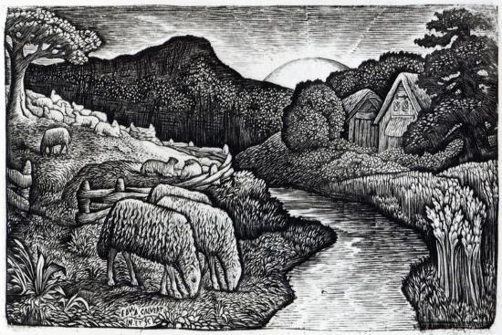 The Sheep of His Pasture, C.1828, from an Edition of 350 Prints Published for the Album 'A…-Edward Calvert-Giclee Print
