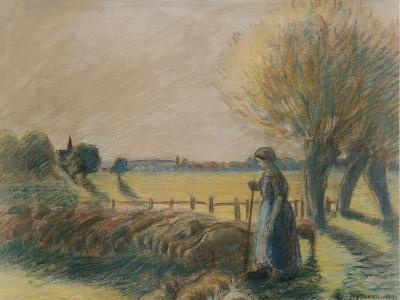 The Shepherdess of Eragny (Tempera and Pastel with Traces of Watercolour and Pencil on Grey Paper)-Camille Pissarro-Giclee Print