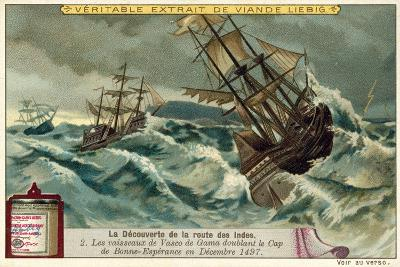 The Ships of Vasco Da Gama Rounding the Cape of Good Hope, December 1497--Giclee Print