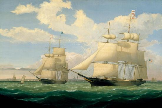 The Ships 'Winged Arrow' and 'Southern Cross' in Boston Harbour, 1853-Fitz Henry Lane-Giclee Print