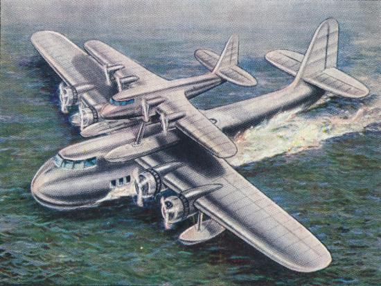 The Short Mayo Composite aircraft, 1938-Unknown-Giclee Print