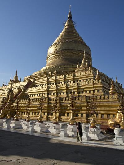 The Shwe Zigon, a Buddhist Temple, Nyaung-U, Near Bagan (Pagan), Myanmar (Burma)-Julio Etchart-Photographic Print